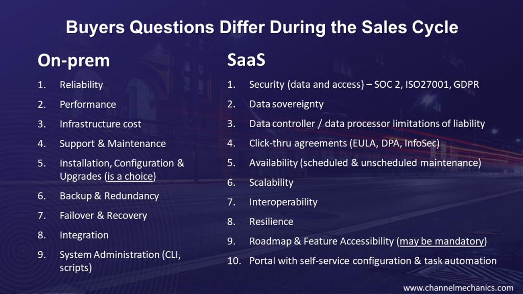 Selling SaaS Vs On-Prem Questions